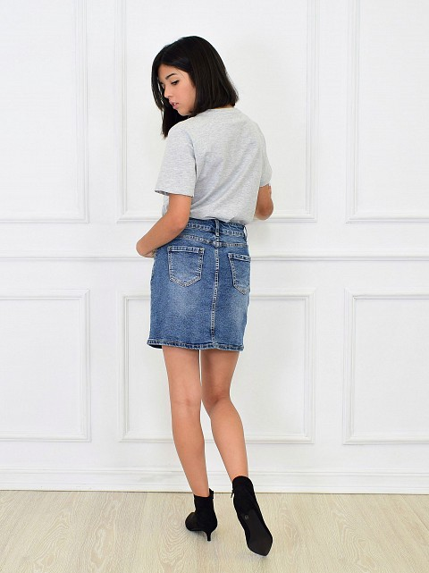 Falda denim basic