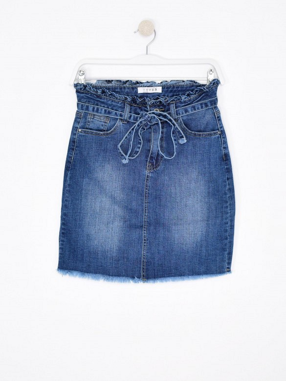Falda denim lazo